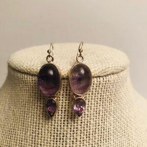 Vintage sterling 925 amethyst cabochon earrings